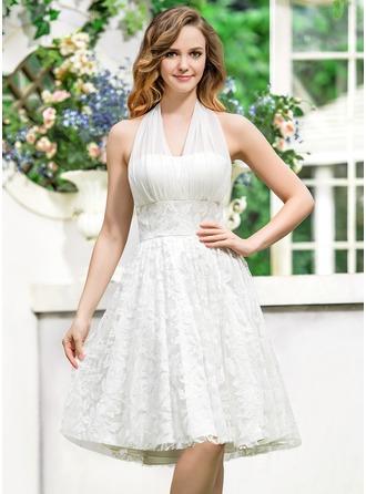 Corte A/Princesa Cabestro Asimétrico Chifón Encaje Vestido de novia con Lazo(s)