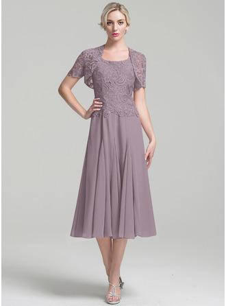 A-Linjainen Square Pääntie Polven alle Sifonki Morsiamen äiti-mekko