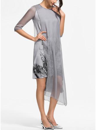 Распечатать Прямые платья Рукава 3/4 асимметричный Повседневная элегантный Модные платья