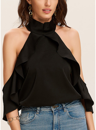 Solid Cold Shoulder 1/2 Sleeves Flare Sleeve Casual