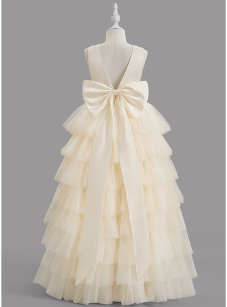 Ball-Gown/Princess Scoop Neck Floor-length With Bow(s) Satin/Tulle Flower Girl Dress