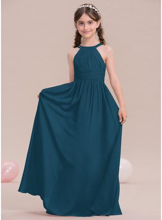 A-linjainen Pyöreä kaula-aukko Lattiaa hipova pituus Sifonki Nuorten morsiusneito mekko jossa Rypytys