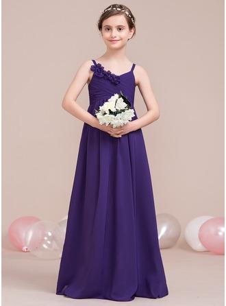 A-Line/Princess V-neck Floor-Length Chiffon Junior Bridesmaid Dress With Ruffle Flower(s)