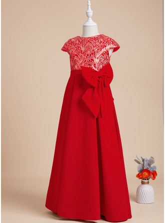 A-Line Scoop Neck Floor-length With Sequins/Bow(s) Short Sleeves Flower Girl Dress