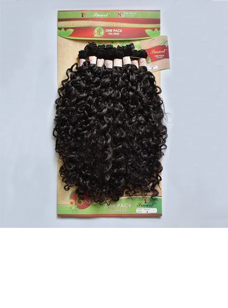 Curly Synthetic Hair Human Hair Weave 8pcs 300g