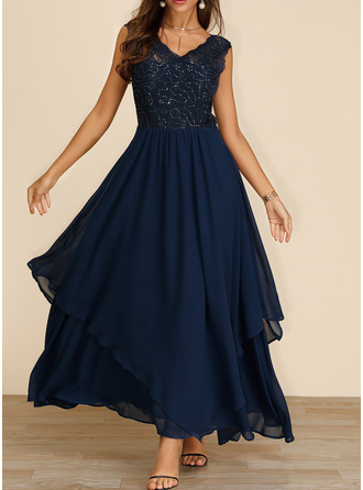Lace Sequins Solid A-line Sleeveless Maxi Party Elegant Skater Dresses