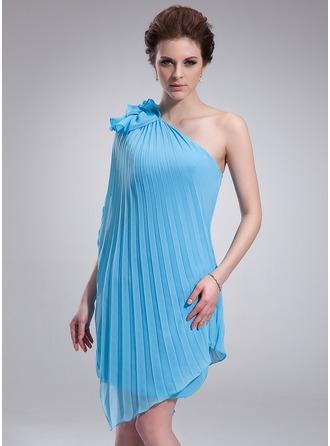 Sheath/Column One-Shoulder Asymmetrical Chiffon Homecoming Dress With Cascading Ruffles Pleated