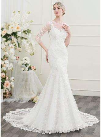 Trompete/Sereia Decote redondo Cauda longa Vestido de noiva