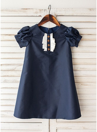 A-Line/Princess Knee-length Flower Girl Dress - Taffeta Short Sleeves Scoop Neck