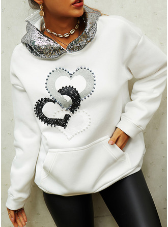 Print Sequins Heart Long Sleeves Hoodie