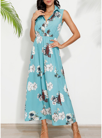 Floral Print A-line Sleeveless Maxi Casual Vacation Dresses