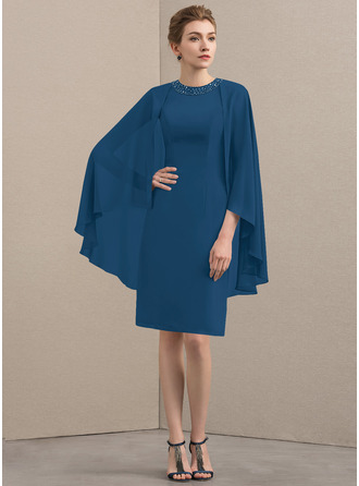 Etui-Linie U-Ausschnitt Knielang Chiffon Kleid für die Brautmutter mit Perlstickerei Pailletten