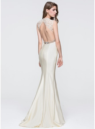 Trumpet/Mermaid Scoop Neck Sweep Train Jersey Prom Dress With Beading Sequins