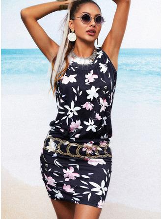 Floral Print Bodycon Sleeveless Mini Casual Dresses