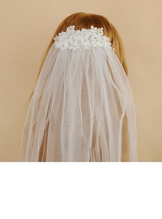 One-tier Cut Edge Elbow Bridal Veils With Rhinestones/Faux Pearl