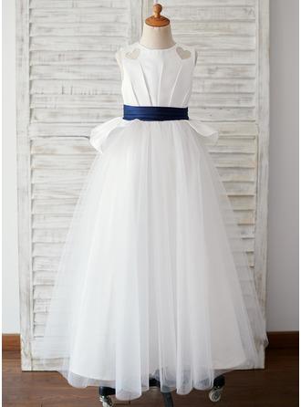 Ball-Gown/Princess Floor-length Flower Girl Dress - Satin/Tulle Sleeveless Scoop Neck (Undetachable sash)