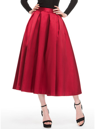 A-Line Tea-Length Satin Cocktail Dress