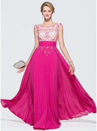 A-Line/Princess Scoop Neck Floor-Length Chiffon Prom Dress With Ruffle Beading Sequins