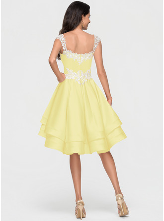 A-Line Sweetheart Asymmetrical Satin Homecoming Dress