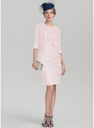 Etui-Linie U-Ausschnitt Knielang Satin Spitze Kleid für die Brautmutter mit Rüschen