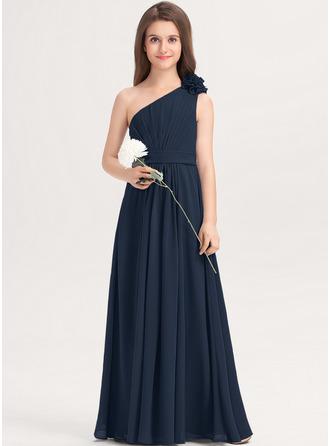 Áčkové Šaty One-Shoulder Délka na zem Šifón Šaty pro mladé družičky S Volán Květiny