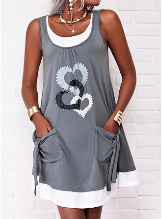 Print Heart Shift Sleeveless Mini Casual Tank Dresses