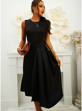 Solid A-line Sleeveless Midi Little Black Casual Skater Dresses