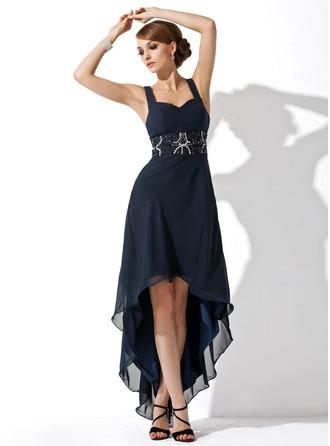 A-Line/Princess Sweetheart Asymmetrical Chiffon Homecoming Dress With Ruffle Beading
