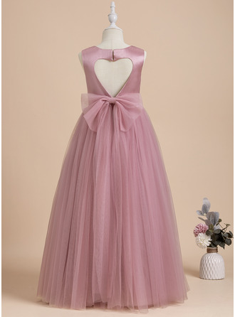Ball-Gown/Princess Scoop Neck Floor-length With Bow(s)/Back Hole Sleeveless Flower Girl Dress