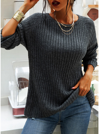 Round Neck Solid Chunky knit Sweaters