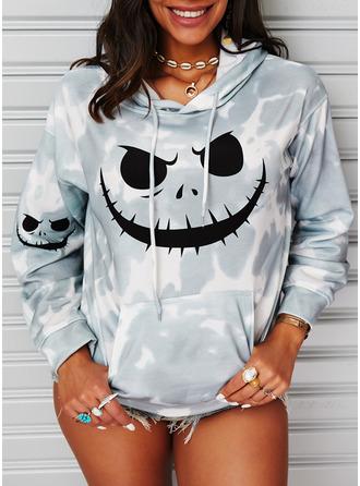 Druck Tie Dye Halloween Lange Ärmel Hoodie