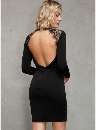 Krajka Pevný Přiléhavé Dlouhé rukávy Mini Malé černé Party Sexy Módní šaty