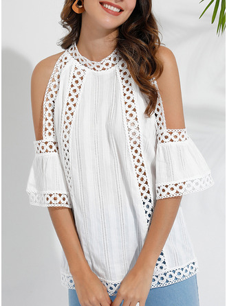 Lace Patchwork Solid Cold Shoulder 1/2 Sleeves Casual
