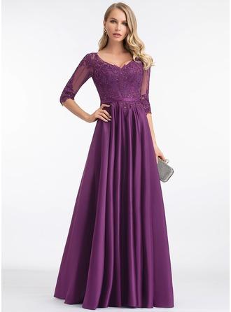 Трапеция V-образный Длина до пола Атлас Вечерние Платье с блестки