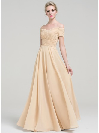 A-Line/Princess Off-the-Shoulder Floor-Length Chiffon Prom Dress With Ruffle