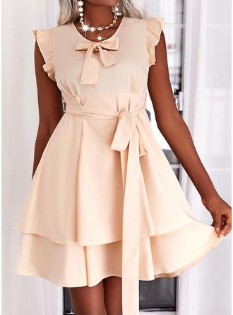 Solid A-line kjole Mini Elegant skater Motekjoler