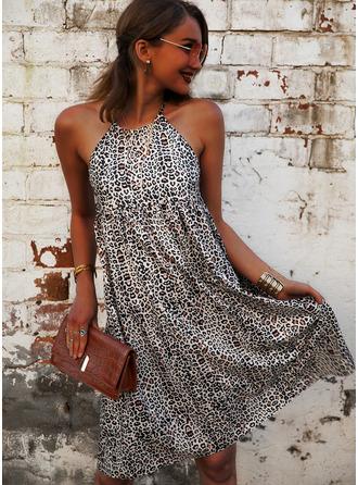 Leopard Print Shiftklänningar Ärmlös Mini Fritids Modeklänningar