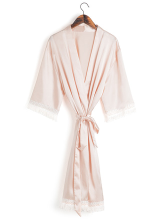 Non-personalized Charmeuse Bride Bridesmaid Mom Blank Robes Lace Robes