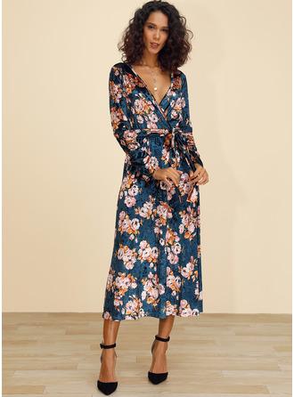 Floral Print A-line Long Sleeves Midi Casual Elegant Skater Wrap Dresses
