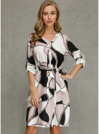 Chinlon With Button/Print Knee Length Dress