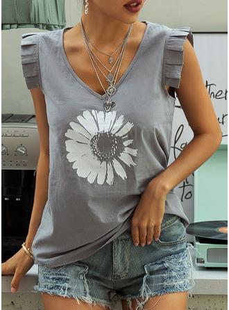 Print Floral Sleeveless Polyester V Neck Tank Tops Blouses