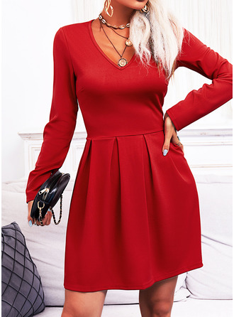 Solid A-line Long Sleeves Mini Elegant Skater Dresses