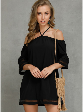Solid Shift Cold Shoulder Sleeve Mini Casual Dresses