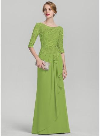 A-Linie/Princess-Linie U-Ausschnitt Bodenlang Chiffon Spitze Kleid für die Brautmutter mit Gestufte Rüschen