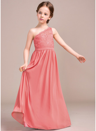A-Line One-Shoulder Floor-Length Chiffon Lace Junior Bridesmaid Dress