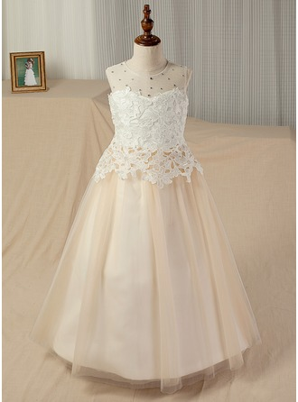 A-Line/Princess Floor-length Flower Girl Dress - Satin/Tulle/Lace Sleeveless Scoop Neck With Beading