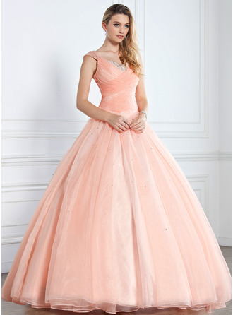 Ball-Gown V-neck Floor-Length Prom Dress With Ruffle Beading Sequins