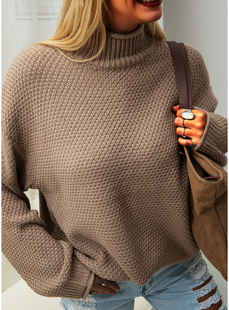 Turtleneck Casual Solid Chunky knit Waffle Knit Sweaters