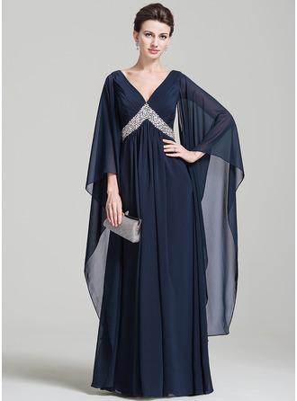 Corte imperial Escote en V Hasta el suelo Chifón Vestido de madrina con Volantes Bordado Lentejuelas