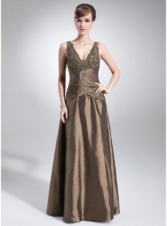 A-formet/Prinsesse V-hals Gulvlengde Taft Kjole til brudens mor med Frynse Blonder Perlebesydd
